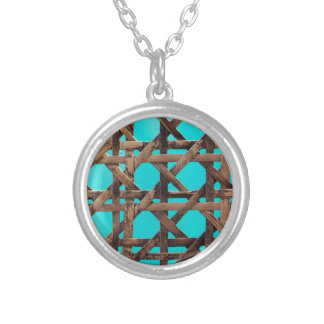 Old wooden basketwork silver plated necklace