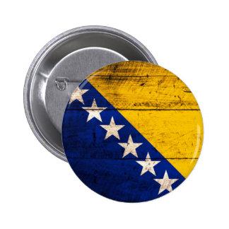 Old Wooden Bosnia Flag Pin