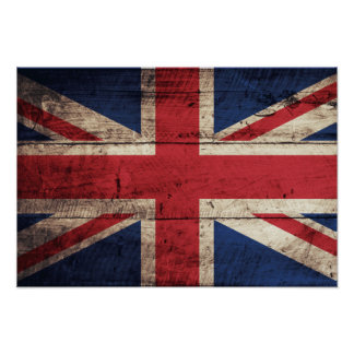 Old Wooden British Flag Poster