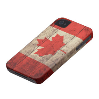 Old Wooden Canadian Flag iPhone 4 Cases