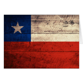 Old Wooden Chile Flag Note Card