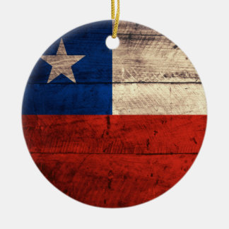 Old Wooden Chile Flag Round Ceramic Decoration