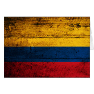Old Wooden Colombia Flag Card