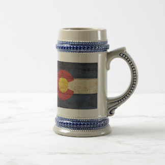 Old Wooden Colorado Flag Beer Stein
