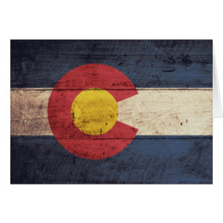 Old Wooden Colorado Flag Card