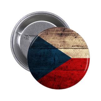 Old Wooden Czech Flag Pinback Button