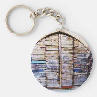 Old  wooden door in Chania Crete, Greece Basic Round Button Key Ring