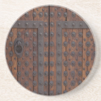 Old Wooden Door With Black Metal Reinforcements Coaster