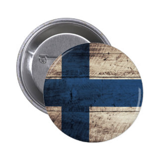 Old Wooden Finland Flag Pinback Button