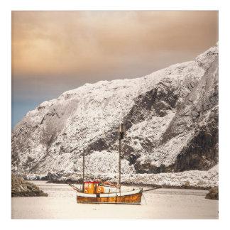 Old wooden fishingboat in winter landscape acrylic print