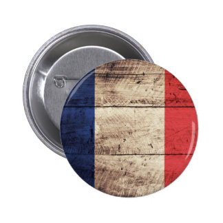 Old Wooden France Flag Button