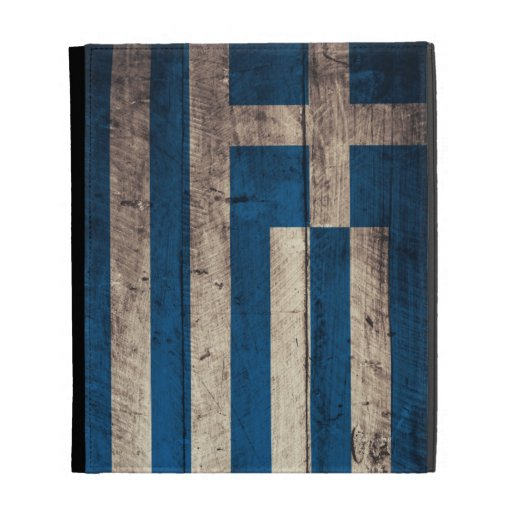 Old Wooden Greece Flag; iPad Folio Cases