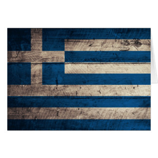 Old Wooden Greece Flag Note Card