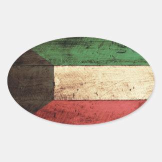 Old Wooden Kuwait Flag Oval Sticker