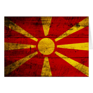 Old Wooden Macedonia Flag Card