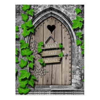 Old Wooden Magical Fantasy Fairy Wishing Door Postcard