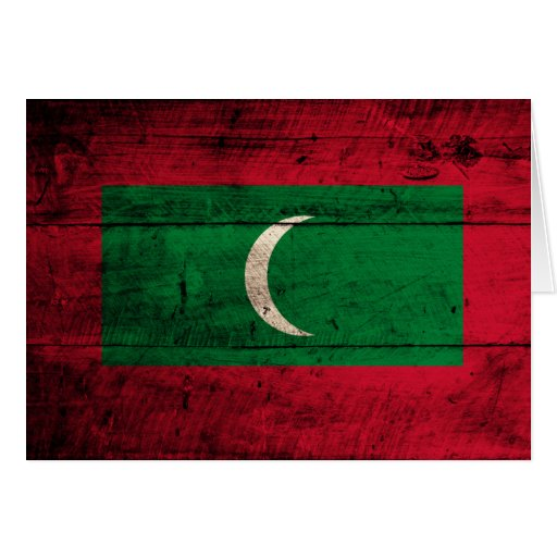 Old Wooden Maldives Flag Greeting Cards