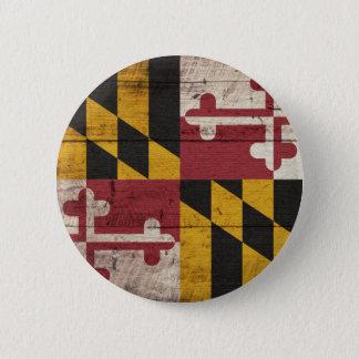 Old Wooden Maryland Flag 6 Cm Round Badge