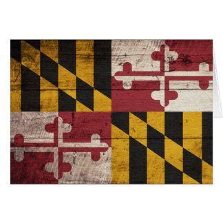 Old Wooden Maryland Flag Card