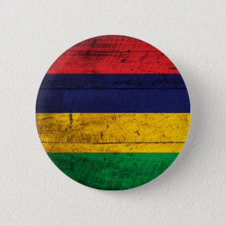 Old Wooden Mauritius Flag 6 Cm Round Badge