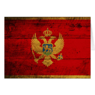Old Wooden Montenegro Flag Greeting Card