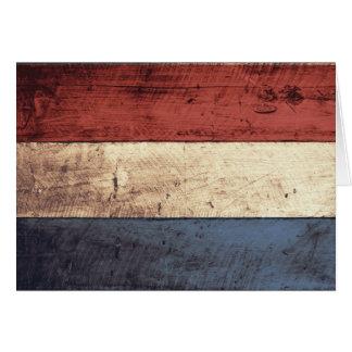 Old Wooden Netherlands Flag Card