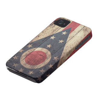 Old Wooden Ohio Flag; iPhone 4 Cases