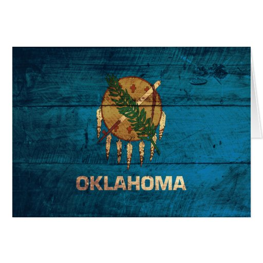 Old Wooden Oklahoma Flag; Cards