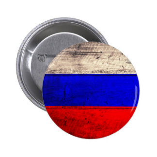 Old Wooden Russian Flag Pinback Buttons