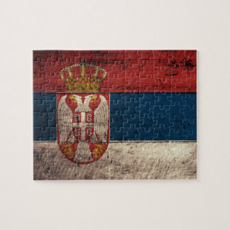 Old Wooden Serbia Flag Jigsaw Puzzle