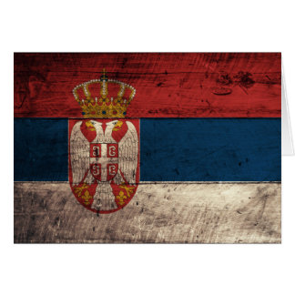 Old Wooden Serbia Flag Note Card