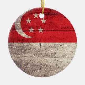 Old Wooden Singapore Flag Ceramic Ornament