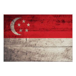 Old Wooden Singapore Flag Poster