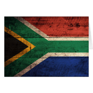 Old Wooden South Africa Flag Card