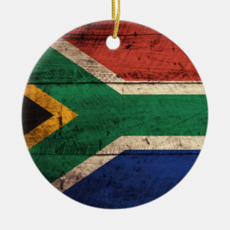 Old Wooden South Africa Flag Ceramic Ornament