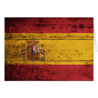 Old Wooden Spain Flag Card