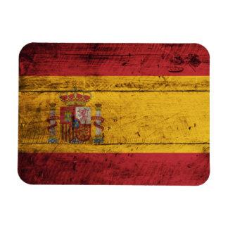 Old Wooden Spain Flag Magnet