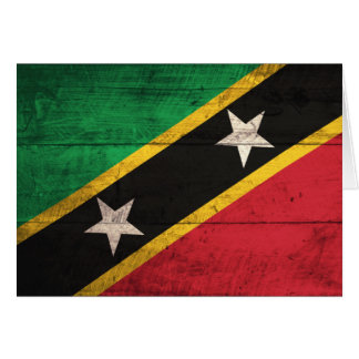 Old Wooden St. Kitts / Nevis Flag Note Card