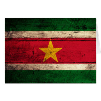 Old Wooden Suriname Flag Note Card