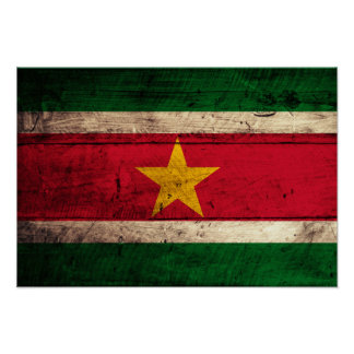 Old Wooden Suriname Flag Poster
