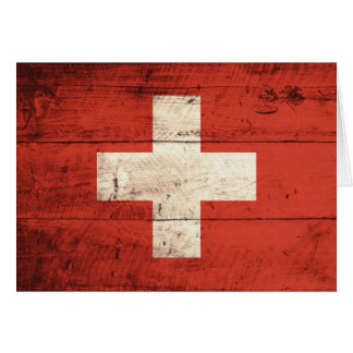 Old Wooden Swiss Flag Greeting Card
