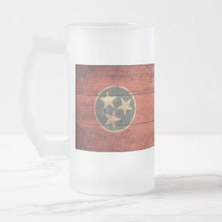 Old Wooden Tennessee Flag Frosted Glass Beer Mug