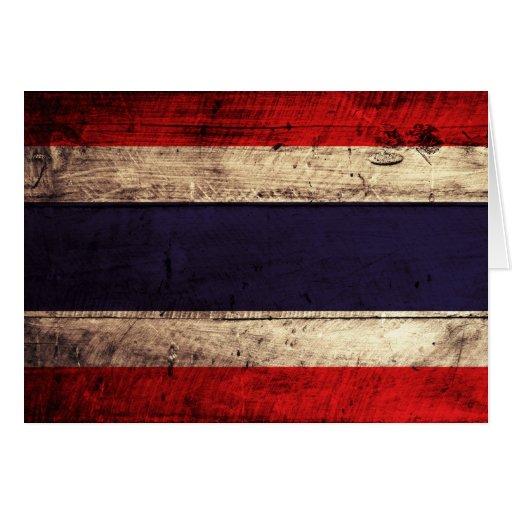 Old Wooden Thailand Flag Card