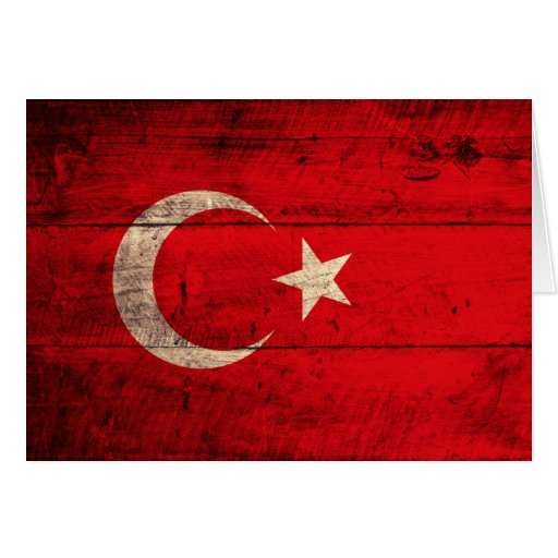 Old Wooden Turkey Flag Greeting Card