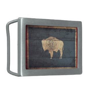 Old Wooden Wyoming Flag Rectangular Belt Buckles