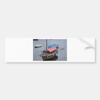 Old wooden yacht bumper sticker
