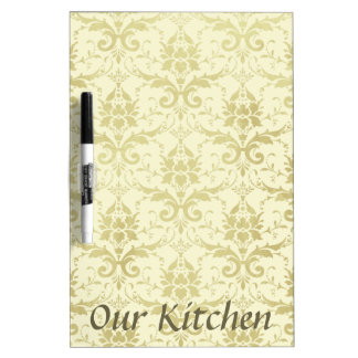 Old World Damask Pattern Dry Erase White Board