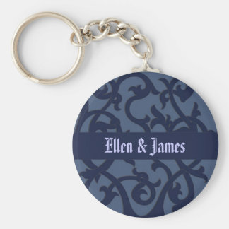 Old World Design in Blue Basic Round Button Key Ring