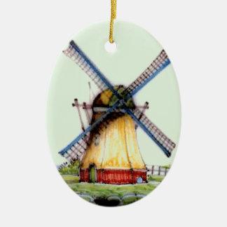 Old World Dutch Windmill Ceramic Ornament