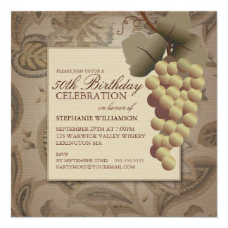 Old World Grapes Wine Themed Birthday Party Card